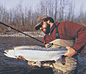 Dec Hogan displaying a nice steelhead