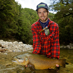 Mikkel Poppelhoj with massive NZ brown trout